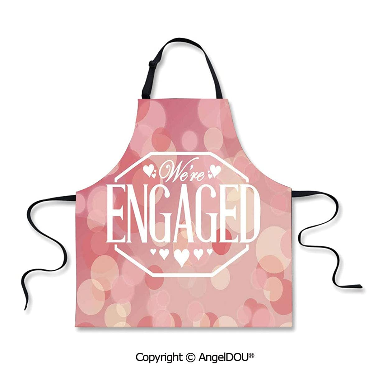 SCOXIXI Printed Kitchen Apron Baking Apron Engagement Party Cards with Blurry Abstract Circles Home Cooking BBQ Apron Cleaning Accessory.