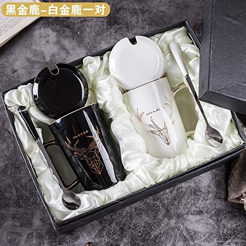 Heliansheng Taza de Arte Creativo Desayuno Café Hogar Pareja Taza de cerámica con Tapa Cuchara -Set 14-401-500ml-G523