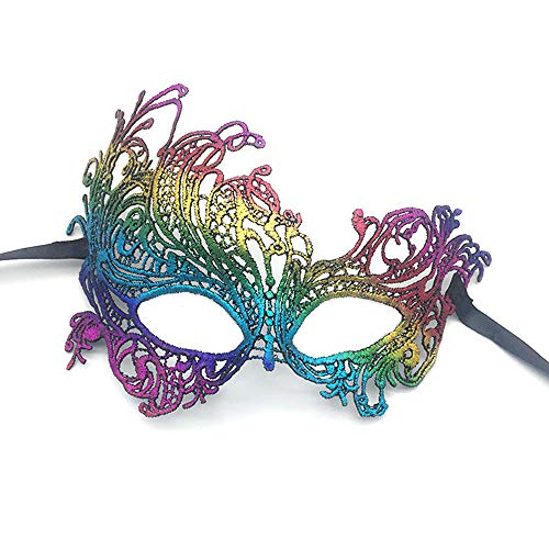 iMapo Masquerade Masks, Women Girl Lace Eye Mask, Opera Halloween Dancing Evening Party Elegant Mardi Gras Lady Eye Mask - Rainbow