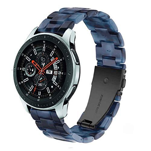 DEALELE Armbänd Kompatibel mit Galaxy Watch 46mm, 22mm Buntes Harz Resin Ersatz Armband für Samsung Gear S3 Frontier/Classic/Huawei Watch GT2 46mm Damen Herren, Tinte blau
