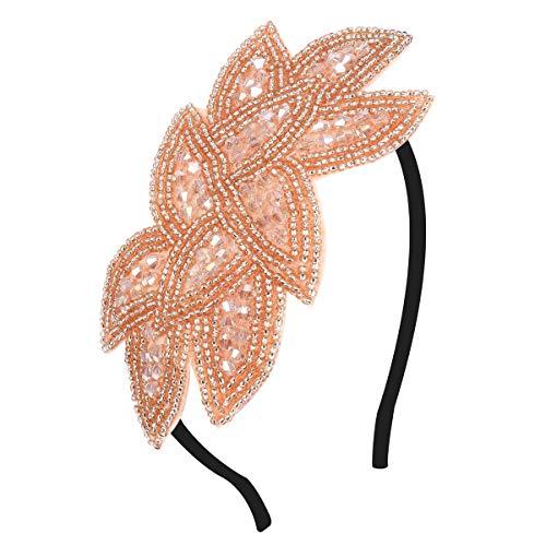 BOER 1920s Stirnband - Damen Haarreif Gatsby Kostüm Accessoires Retro 20er Jahre Flapper Kristall Haarband Kopfschmuck (Champagner)