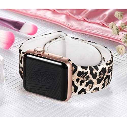 Laffav Compatible with Apple Watch Band 40mm 38mm iWatch Series 5 4 3 2 1 for Women Men, Classic Leopard, S/M 6