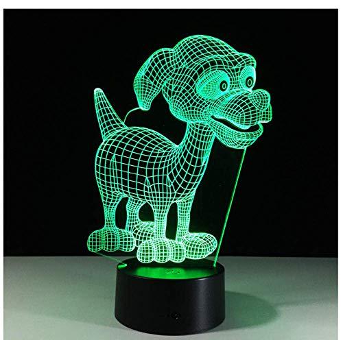 Illusion Creative New 3D USB Lampe de Table 7 Changement de Couleur LED Bébé Sommeil Nuit Lumière Thanksgiving Cadeaux Chambre Chevet Décor Cadeau lampe Chien, Bande Dessinée, animal de compagnie