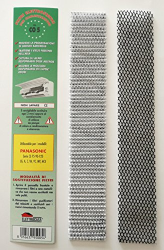 Elettrocasa - Paquete de 2 filtros CO 5 para aire acondicionado Panasonic Serie CS 75 95 125 G A C VA VC MV MC