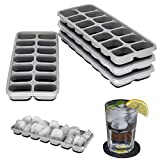 Mannesfaktur Eiswürfelformen 4er-Pack - mit Deckel - stapelbar - Silikon - BPA-Frei - grau/schwarz - Babynahrung - Cocktails - LFGB Zertifiziert - Whiskey