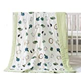 NIUXUAN 100% Cotton Quilt Baby Bed Blanket- Double Layer Yarn Toddler Blanket,Anti-Allergic Lightweight Stroller Blanket- Soft and Perfect for Boys/Girls Nap Crib Blanket (47'x59',Animal Forest)