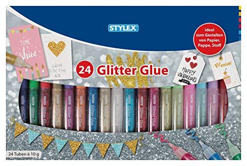 Stylex 23384 - Glitter Glue im farbenfrohen Set mit 24 Tuben á 10 g, lösungsmittelfrei und auswaschbar, Klebstoff mit tollen Glitzerpartikeln zum kreativen Basteln und Gestalten