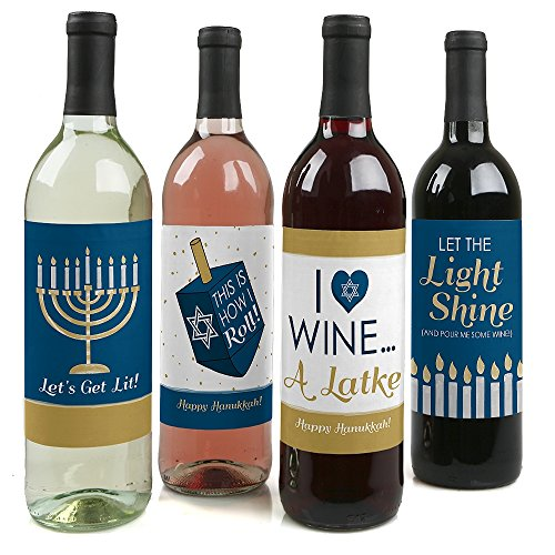 Big Dot of Happiness Happy Hanukkah - Chanukah Decorations for Women and Men - Wine Bottle Label Stickers - Set of 4