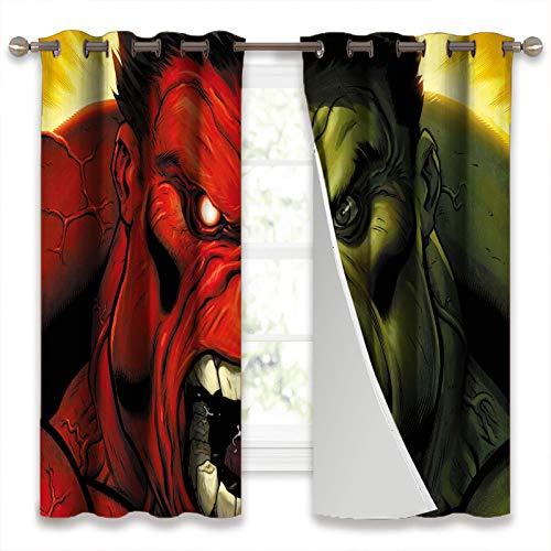 Sound Blocking Curtains Hulk Vs Red Hulk Set of 2 Curtain Panels W52 x L63 Inch