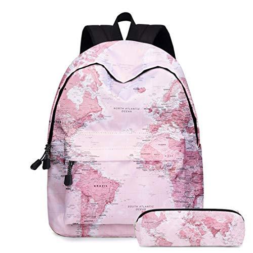GEEFSU Europa Patrón Mapa de La Caja de Lápiz Mochila Moda Ocio Bookbags por Niñas Adolescentes de La Escuela Bolsa de Impresión de Las Mujeres Bookbag,Rosado