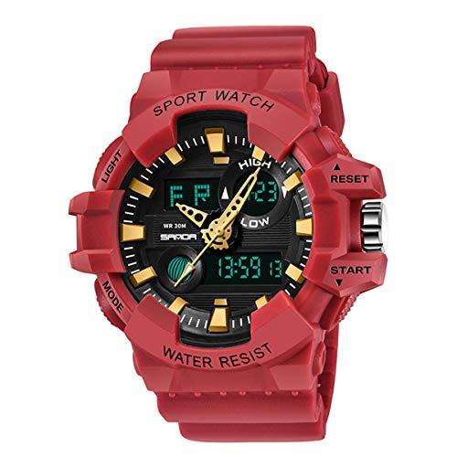 Herren Uhren, Allskid Sport Wasserdicht Nachtleuchtend Multifunktion Draussen Militär Analog Digital Männer Armbanduhren (48mm, B-Rot)