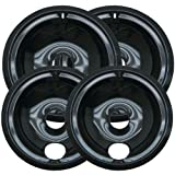Kitchen Basics 101: 2 of WB31M20 and 2 of WB31M19 Range Cooktop Porcelain Drip Pan Bowls Replacement for GE 4...