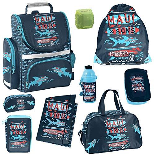 Familando Jungen Schulranzen-Set 9tlg. mit Federmappe Brotzeit-Dose Trink-Flasche Sport-Tasche Regenschutz Maui & Sons Shark Surf-Brett
