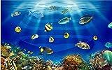 ZZXIAO Papel pintado mural de la decoración de la pared de los peces tropicales del acuario del mundo marino para cocina Decoración Fotomural sala Pared Pintado Papel tapiz no tejido-350cm×256cm