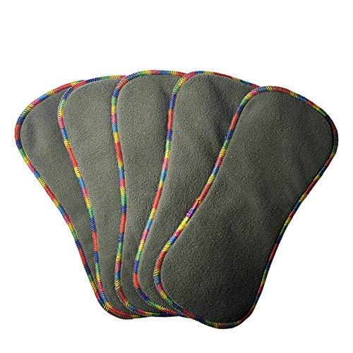 Thank u Mom 4 Layers Bamboo Charcoal and Microfiber Newborn Cloth Diaper Inserts 5Pcs