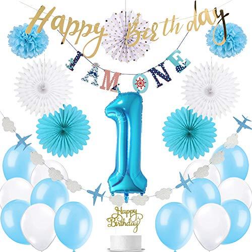 Easy Joy 1. Geburtstag Blau Deko I AM ONE Birthday Banner Folienballon 1 Geburtstagsdeko