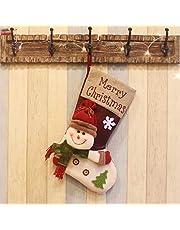 Popglory Calcetín de Navidad Grande, Botas de Navidad Regalo, Calcetines Navidad Chimenea, Adornos Árbol Navidad, Navidad Decoración Casa, Decoracion Hogar