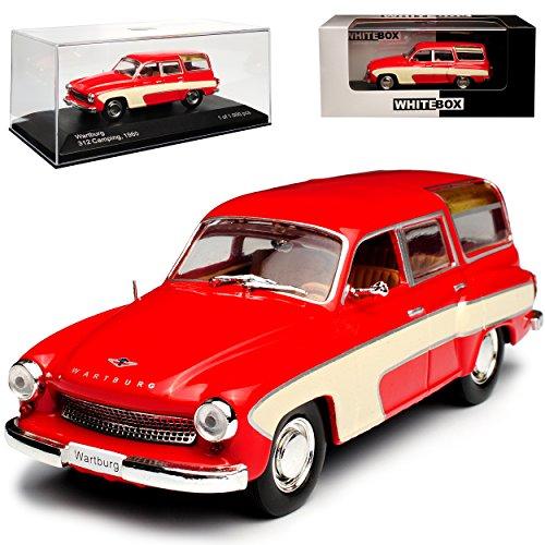 Whitebox Wartburg 312 Camping Rot Beige 1965-1967 DDR limitiert 1 von 1000 Stück 1/43 Modell Auto mit individiuellem Wunschkennzeichen