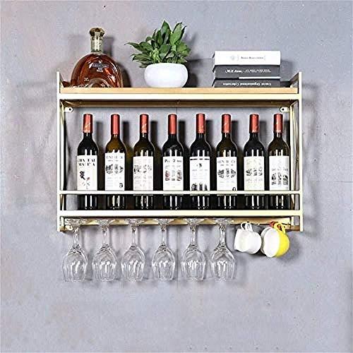 Botellero De Metal Botellero Estante Del Vino Rojo - Estante De Vino Montado En La Pared, Estante De Copa De Vino, DecoracióN Del Hogar-El 100 * 20 * 52cm