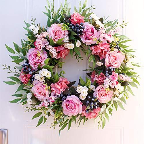 Romdink 55cm/22\'\' Rosenkranz, Großer Rustikaler Bauernkranz mit Künstlichen Blumen, Dekorativ, Kunstblumen-Kranz für Haustür, Fenster, Wand, Hochzeits-Wohnkultur