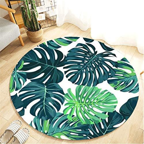 Scrolor Teppiche für Wohnzimmer Kissen runden Teppich Tropische Pflanzenblätter komfortable Flanell Material Kinderzimmer Bodendekoration