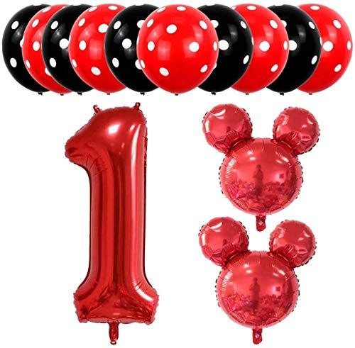 boogift 13 pcs Globos Mickey Mouse cumpleaños,10 pcs Globos de látex,2 pcs Globos de Aluminio cumpleaños,1 pc Número 1 para Fiestas de Cumpleaños Niños de 1 año (Rojo)
