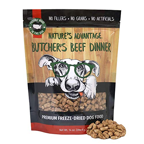 Nature's Advantage Butcher's Beef Dinner Dog Food - Freeze-Dried - All Natural Dog Food - Made & Sourced in USA - Grain Free - 14 oz Resealable Pouch, Brown (6102)