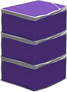 PrettyKrafts Saree Cover Large/Wardrobe Organiser/Clothes Bag_ (Set of 3) -Purple