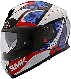 SMK Twister Zest Pinlock fitted with Clear Visor Gloss (White, Red/Blue M)