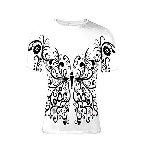T-Shirt mit kurzen Ärmeln, gewirbelten Flügeln mit Blume Spirituelles Naturbild, Cool 3D-Druck für Herren