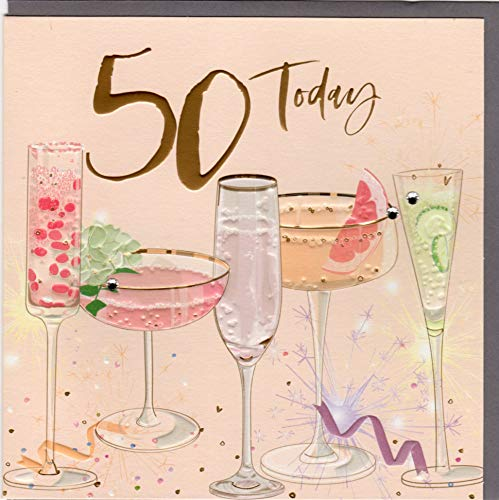 Belly Button Designs hochwertige Glückwunschkarte zum runden 50. Geburtstag aus der neuen Elle Serie mit Prägung, Folie und Kristallen BE043