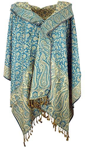 Guru-Shop Indischer Pashmina Schal, Schultertuch, Stola mit Paisley Muster, Herren/Damen, Petrol, Synthetisch, Size:One Size, 200x70 cm, Schals Alternative Bekleidung