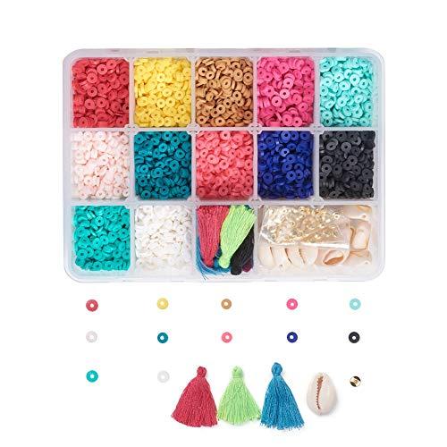 Cheriswelry - Juego de 2400 cuentas de arcilla polimérica de disco plano y redondo de 4 mm con borlas y colgante de 12 colores, cuentas de concha de rondelle para hacer pulseras de joyería Heishi