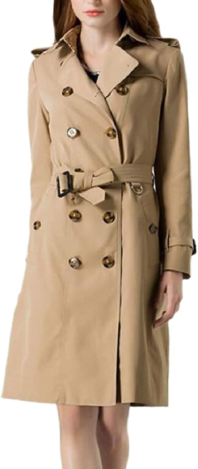 ZXFHZSCA Women Outerwear Belted Lapel Double Breasted Mid Length Trench Coat