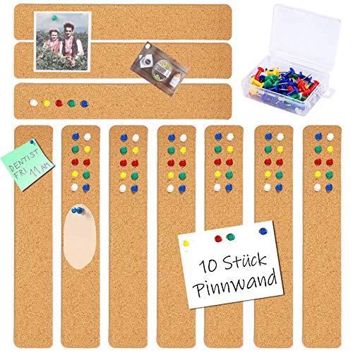 sorliva Pinnwand Cork Bulletin Pinnwand 10 Stück Memo Boards Set Selbstklebende Wandleisten Board Pad Sheet DIY Dekor mit 38PCS Push Pins für Foto Büro Schule Zuhause