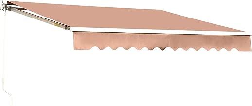 MCombo 12x10 Feet Manual Retractable Patio Door Window Awning Sunshade Shelter Outdoor Canopy (Beige)