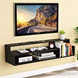 Tribesigns 3 Tier Modern Floating TV Shelf TV Stand Wall Mounted Media Console Shelf 43.3x11.8x11 inch for Cable Box/Xbox One/DVD Player/Game Console Living Room (Black)
