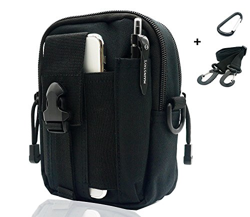 SEVENPICKS Tactical Waist Pack Multi Purpose Bag EDC Pouch Utility Upgraded Version with Strap Camping Hiking Pouch Nylon Cell Phone Bag(Black)