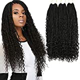 Box Braids Crochet Braids Curly Ends Goddess Box Braids Crochet Hair Synthetic Crochet Braids Hair Extensions 120 Strands (20 Inch, 1B)…
