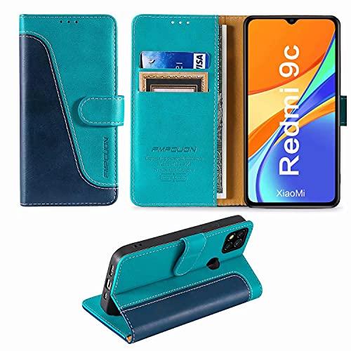 FMPCUON Handyhülle für Xiaomi Redmi 9C Hülle Leder,Premium Klapphülle Handytasche Flip Hülle Handy Hüllen Schutzhülle für Redmi 9C (6.53 Zoll),Blau/Grün