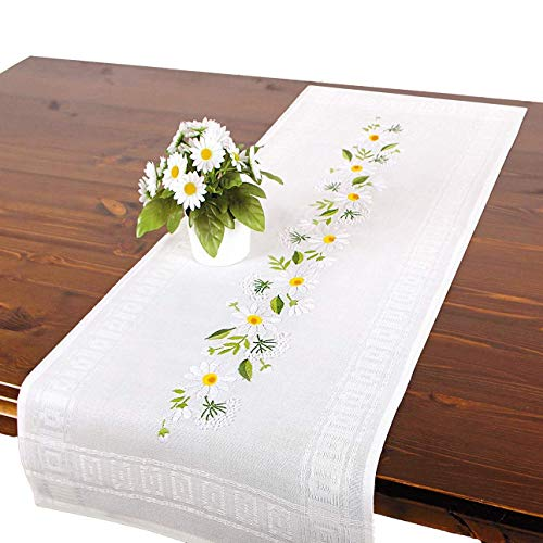 Tischdeckenshop24 Stickpackung MARGERITEN, Tischläufer Set vorgezeichnet zum Sticken, Sommer Stickset mit Plattstich und Stielstich zum Selbersticken