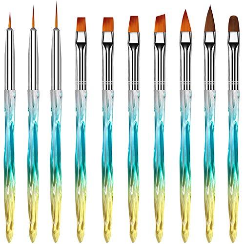 MOOING 10Pcs Gelnagel Pinsel, gelnägel pinselset, Nagel Pinsel Set, pinsel nägel Nagel Kunst Malerei Zeichnung Pinsel für UV-Gel