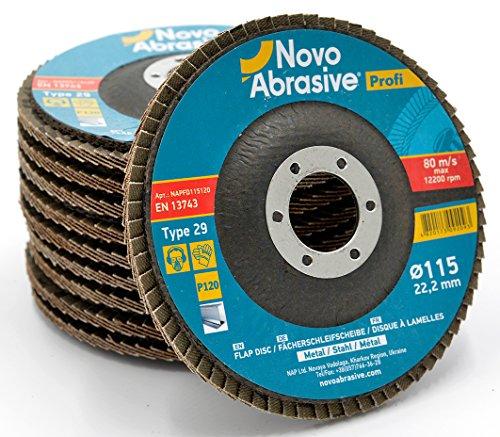 Novoabraive Premium Flap Disc 115 mm korrel 120 slijpschijven voor haakse slijper. Ideaal voor roestvrij staal, gietijzer, hout, kunststoffen, ijzeren metalen – universeel.
