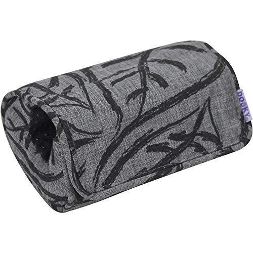 Dooky Coussin d'accoudoir en Grey Leaves Design Coussin de protection d'accoudoir Coussin d'accoudoir avec fermeture velcro pour la poignée du siège auto pour bébé ajustement universel, couleur : gris