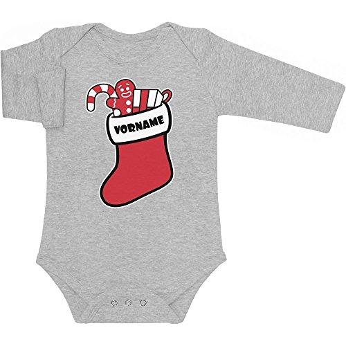 Shirtgeil Kerstmis Sinterklaas sok met gewenste naam baby lange mouwen body