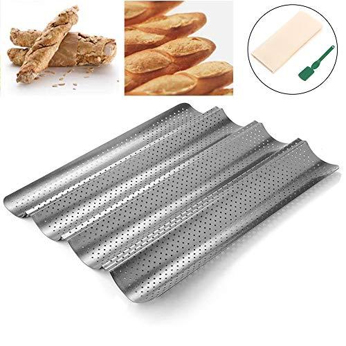 YTOPRO Baguette Backform Baguette-Backblech mit Antihaftbeschichtung für 4 Baguettes 38 x 33 cm - mit Bäckermesser und Bäckerleinen