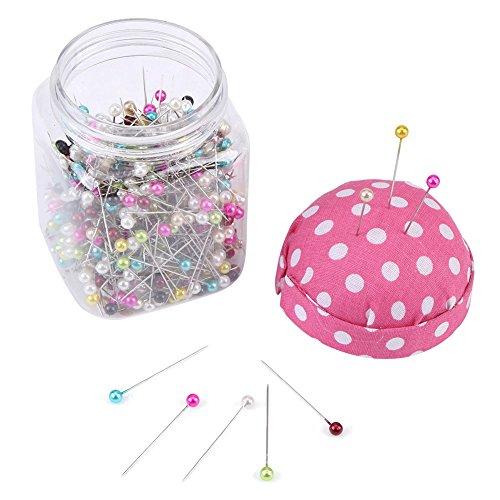 Fydun spelden met kop 500 stuks kralennaalden quiltnaalden in roze stof bedekt naaldkussen fles naaien handwerk pin kussen glazen kopspelden als decoratie