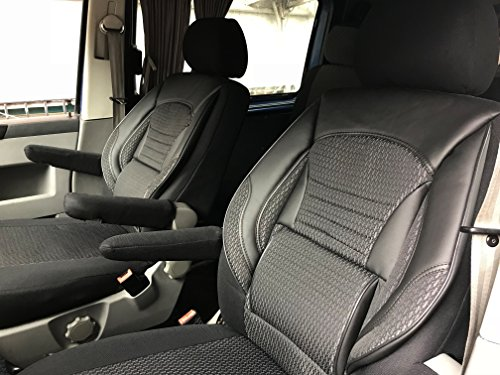 seatcovers by k-maniac Sitzbezüge T5 T6 Multivan California Kombi Caravelle Transporter Kasten Fahrersitz Beifahrersitz Armlehnen Design T41 schwarz-grau