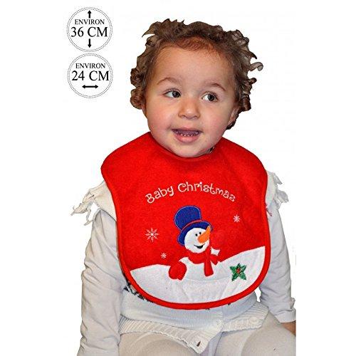 Lively Moments Bavoir pour bébé - Motif Noël - Rouge avec bonhomme de neige dans la neige - Bavoir de Noël
