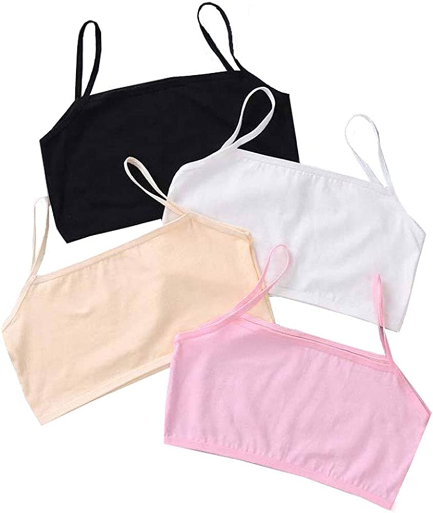 8-12 Years Girl's Spaghetti Straps Training Bras Daily Solid Cami Bras No Pads